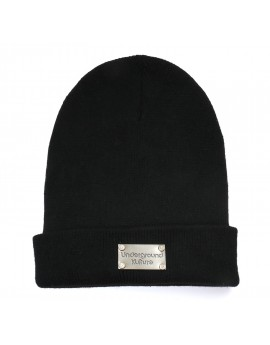 Underground Kulture Metal Badge Beanie Hat (Black)