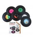 Komonee Vinyl Record Coasters Set - Pack of 6 Retro Novelty Drink Mats
