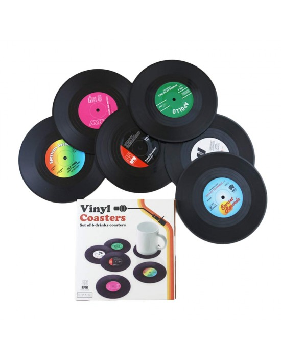 Komonee Vinyl Record Coasters Set - Pack of 6 Retro Novelty Drink Mats
